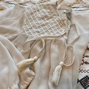 Lucky Brand sheer cream blouse
